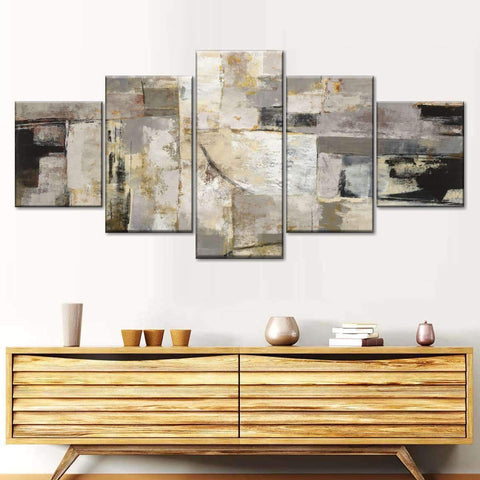 Walking Down the Street Neutral Multi Panel Canvas Wall Art by Silvia Vassileva