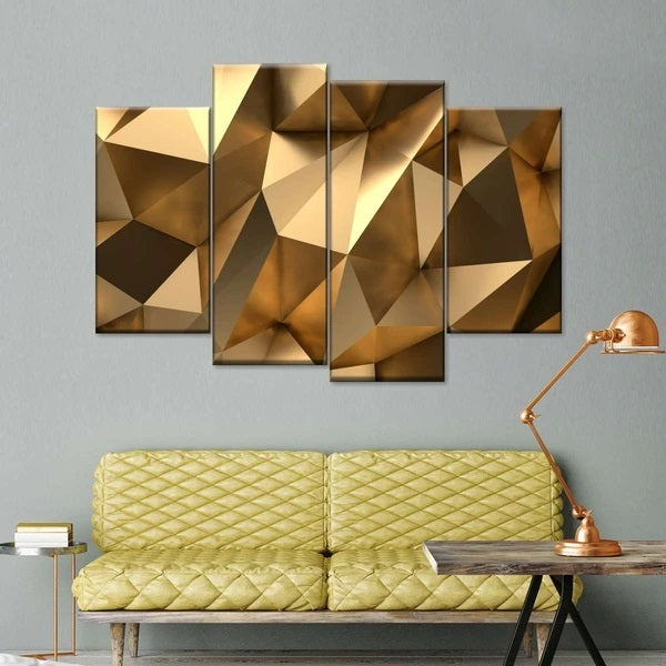 Golden Abstract Multi Panel Canvas Wall Art