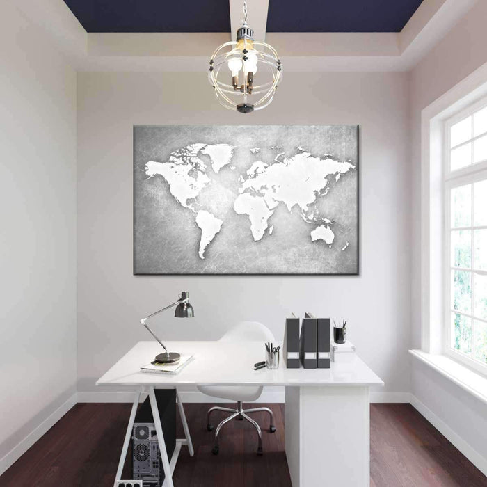 Platinum World Map Multi Panel Canvas Wall Art