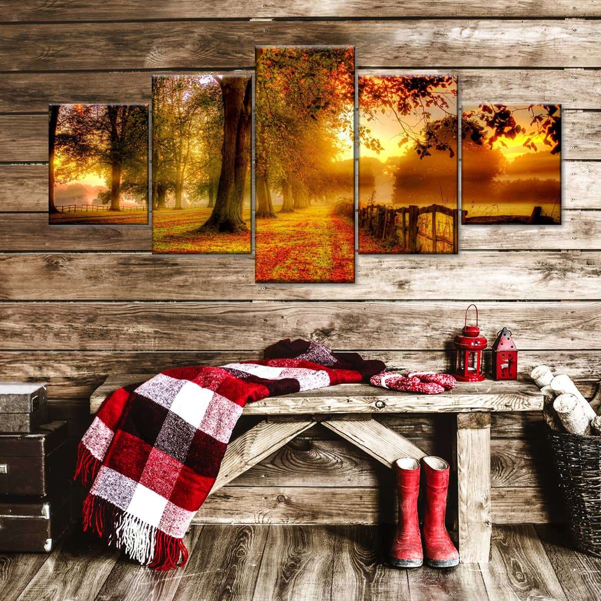 New England Fall Multi Panel Canvas Wall Art
