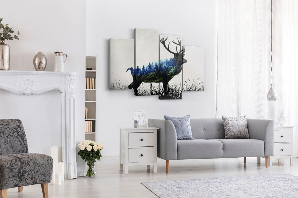 Deer Camouflage Multi Panel Canvas Wall Art