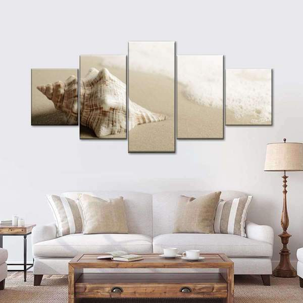 Conch In The Sand Multi Panel Canvas Wall Art