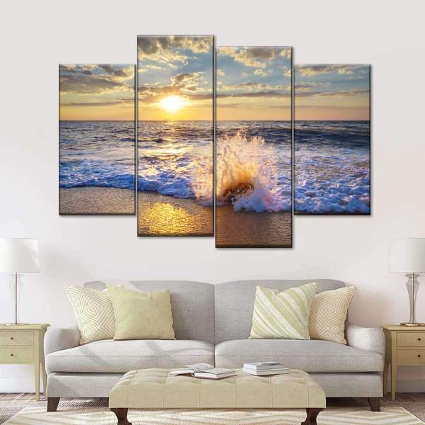 Sunset Beach Time Multi Panel Canvas Wall Art
