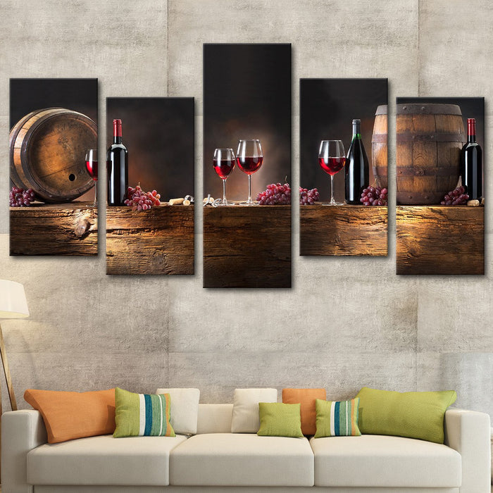 living room with multi panel wall art of wine barrels and wine glasses