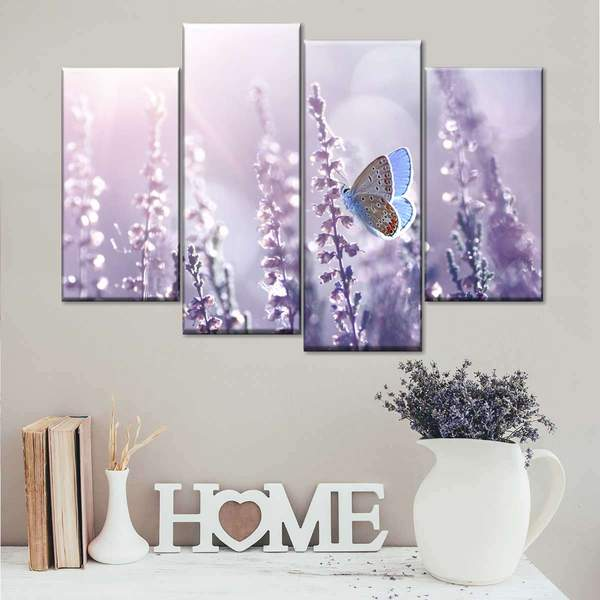 Lysandra And Lavenders Multi Panel Canvas Wall Art