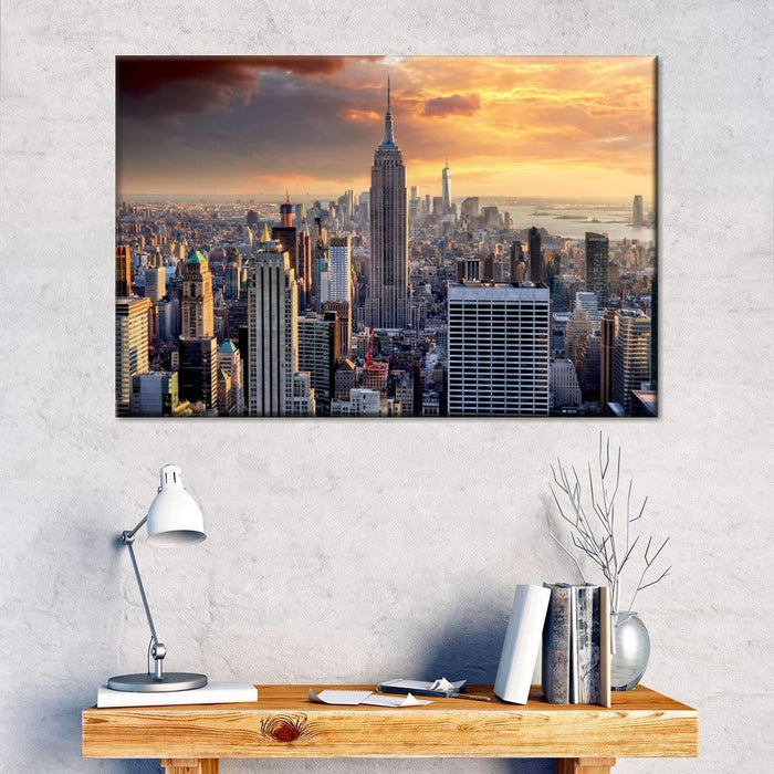 NYC at Sunset Multi Panel Canvas Wall Art