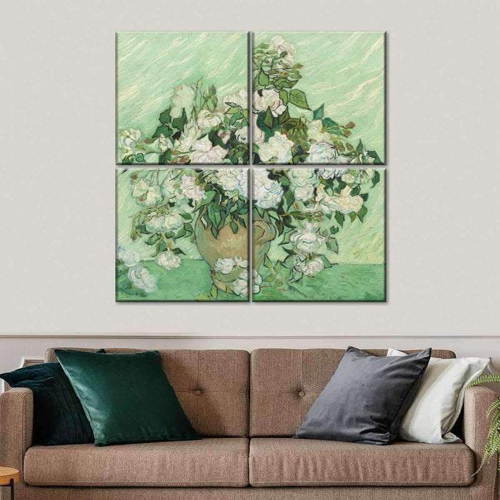 Green Field Roses Multi Panel Canvas Wall Art