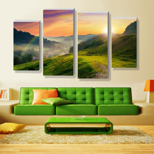 Rainbow Multi Panel Canvas Wall Art - Nature