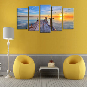 Boardwalk To Sunset Multi Panel Canvas Wall Art - Beach