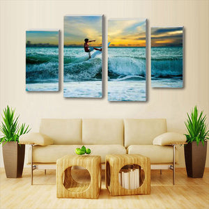 California Teen Surf Multi Panel Canvas Wall Art - Surfing