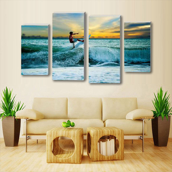 California Teen Surf Multi Panel Canvas Wall Art & California Teen Surf Multi Panel Canvas Wall Art | ElephantStock