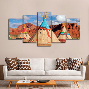 Native Teepees Multi Panel Canvas Wall Art - Native_american