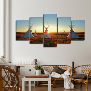 Teepees At Sunset Multi Panel Canvas Wall Art - Native_american