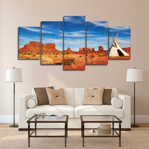 Monument Valley Teepee Multi Panel Canvas Wall Art - Native_american