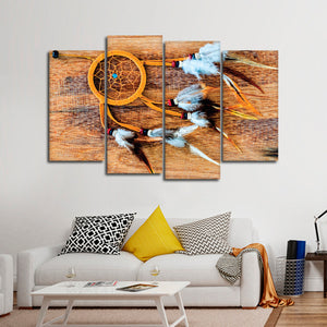 Tribal Dream Catcher Multi Panel Canvas Wall Art - Native_american