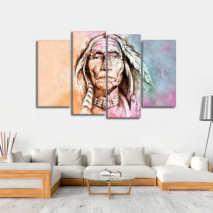 Colorful Chief Multi Panel Canvas Wall Art - Native_american