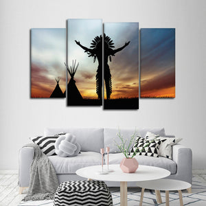 Native Spirit Multi Panel Canvas Wall Art - Native_american