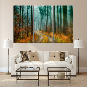 Exquisite Autumn Pathway Multi Panel Canvas Wall Art - Nature