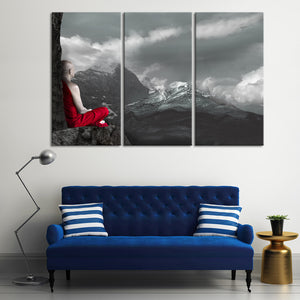 Monk In Meditation Pop Multi Panel Canvas Wall Art - Buddhism