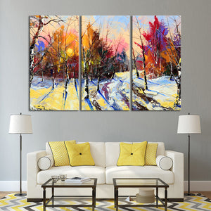 Winter Sunset View Multi Panel Canvas Wall Art - Abstract