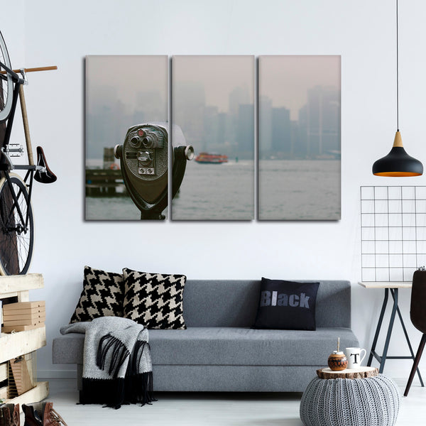 Binoculars Over NYC Multi Panel Canvas Wall Art