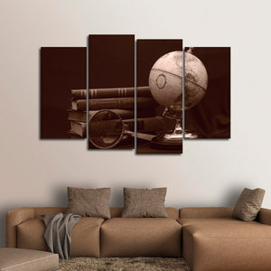 Sepia Globe Multi Panel Canvas Wall Art - Education