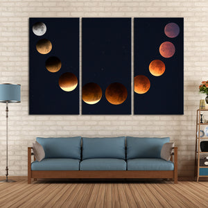 Lunar Cycle Phase Multi Panel Canvas Wall Art - Astronomy