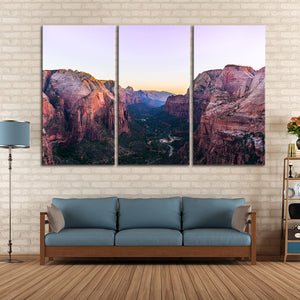Zion National Park View Multi Panel Canvas Wall Art - Nature