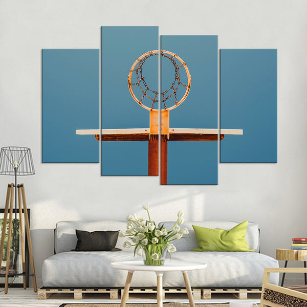 Basketball Hoop View Multi Panel Canvas Wall Art