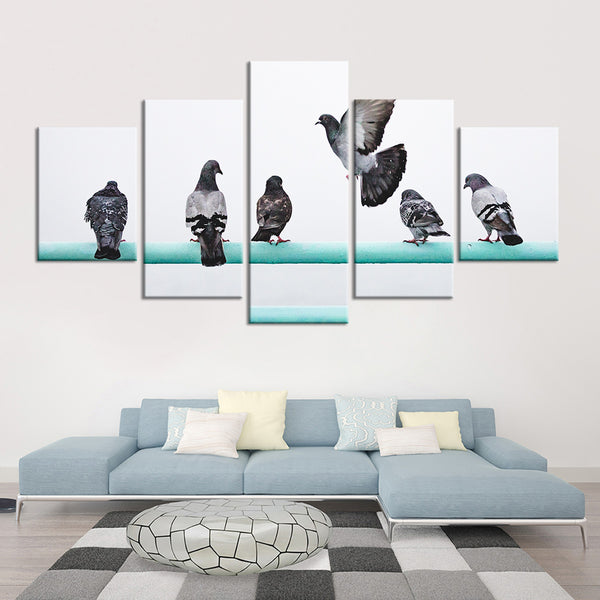 Beautiful Herd of Pigeons Multi Panel Canvas Wall Art