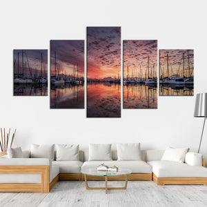Docked Boats At Sunset Multi Panel Canvas Wall Art - Boat