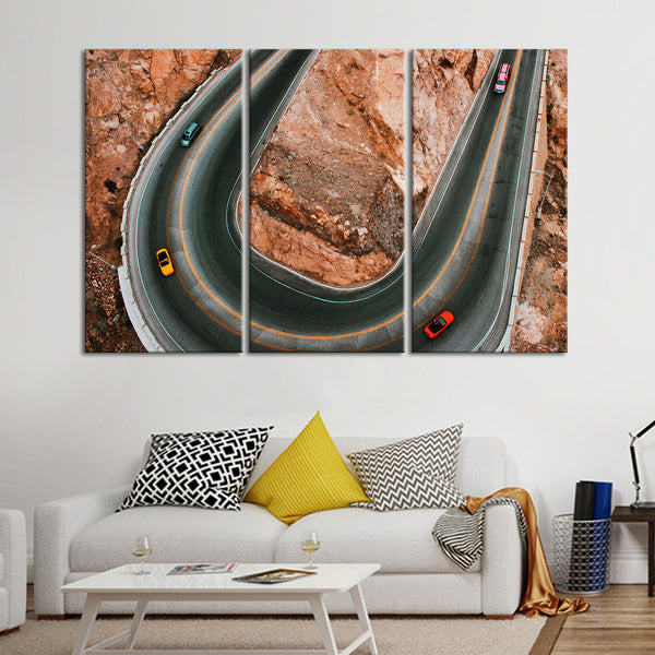 Blissful Canyon Driving Multi Panel Canvas Wall Art