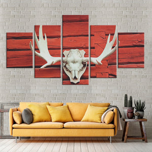 Antlers At The Barn Multi Panel Canvas Wall Art - Western