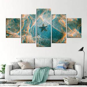 Sandy Starfish Multi Panel Canvas Wall Art - Nautical
