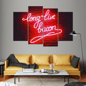 Long Live Bacon Multi Panel Canvas Wall Art - Kitchen