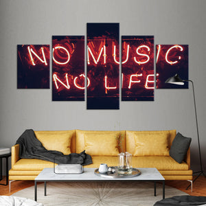 No Music No Life Multi Panel Canvas Wall Art - Music