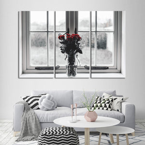 Rose Anticipation Multi Panel Canvas Wall Art - Rose