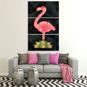 Neon Flamingo Multi Panel Canvas Wall Art - Bird