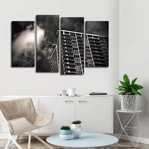 Dark Gloomy Building Multi Panel Canvas Wall Art - Architecture