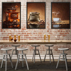 Vintage Coffee Multi Panel Canvas Wall Art - Coffee