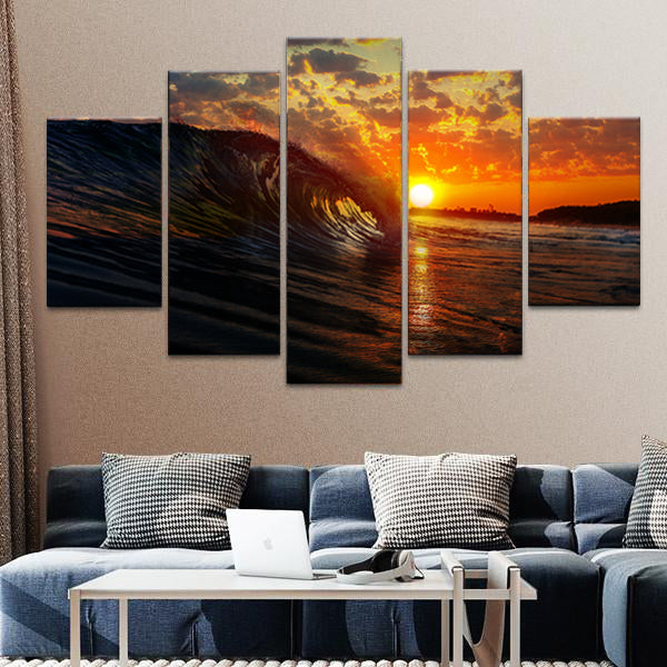 Wave At Sunset Multi Panel Canvas Wall Art