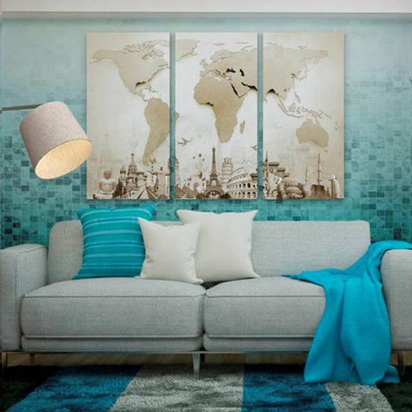 Teal Canvas Wall Art copper world map masterpiece multi panel canvas wall art