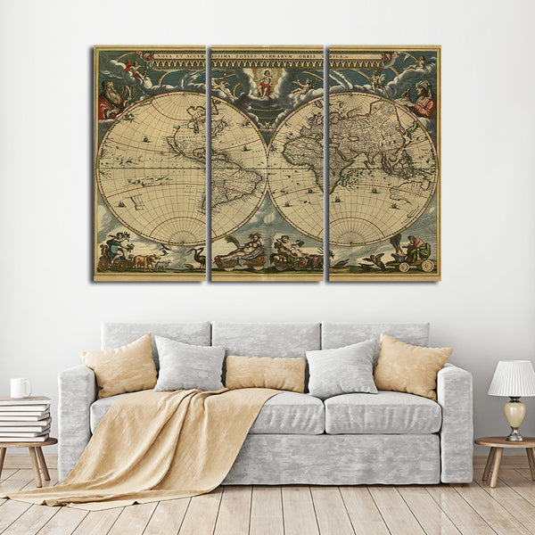 1600s world map multi panel canvas wall art elephantstock 1600s world map multi panel canvas wall art gumiabroncs Images
