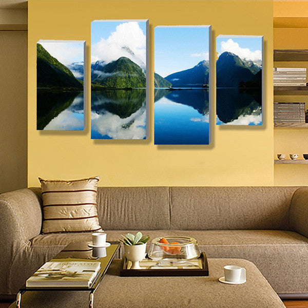 Mountain Lake Scenery Multi Panel Canvas Wall Art | ElephantStock