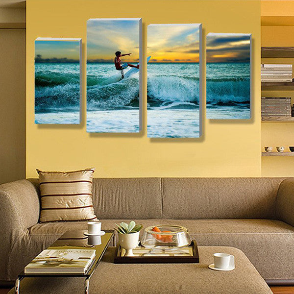 California Teen Surf Multi Panel Canvas Wall Art | ElephantStock