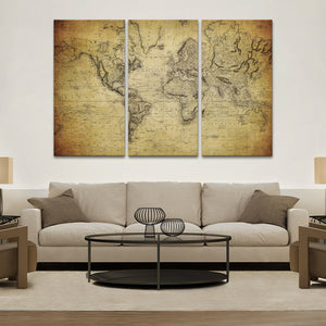 1800s World Map Multi Panel Canvas Wall Art - World_map
