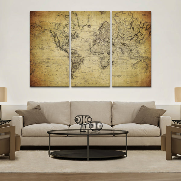 S World Map Multi Panel Canvas Wall Art ElephantStock - 1800s world map