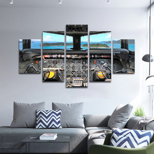 1950s Cockpit Multi Panel Canvas Wall Art - Airplane