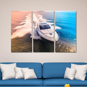 Speed Boat Multi Panel Canvas Wall Art - Boat