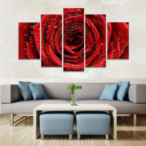 Red Rose Multi Panel Canvas Wall Art - Flower